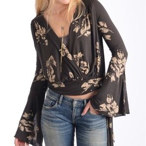 FP Floral Bell Sleeve Surplice Fiona Wrap Top XS
